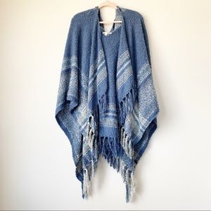 Simply Noelle Hooded Poncho Blue Fringe One Size